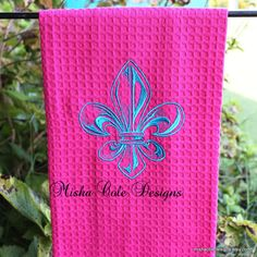 Fleur De Lis Embroidered Tea Towel by Misha by mishacoledesigns, $13.00