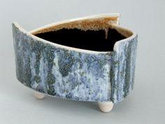 Yamasan Art Pottery Japan Brutalist Ikebana blue flower vase or Bonsai planter makersmark Mid Century modernist Japanese design