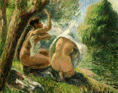 "New artwork made with love for you! - "" Bathers 3 1894 Painting by Pissarro Camille "" - https://ift.tt/2PU6EXV"