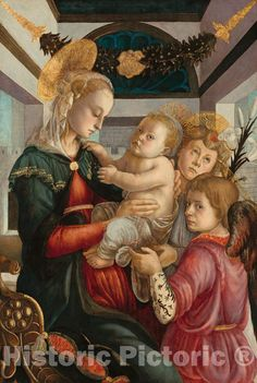 Artist: Attributed to Sandro Botticelli | Painting: Madonna and Child with Angels | Original Medium: oil and tempera on poplar panel Walter Crane, Camille Pissarro, Paul Gauguin, Renaissance Paintings, Renaissance Art, Caravaggio, Painting Collage, Painting & Drawing, Leaf Paintings