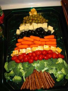 mix of veggies, olives & cheese