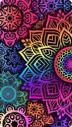 Pop Art Wallpaper, Colorful Wallpaper, Pattern Wallpaper, Cute Wallpaper Backgrounds, Pretty Wallpapers, Mandala Stencils, Mandala Art, Cellphone Wallpaper, Iphone Wallpaper