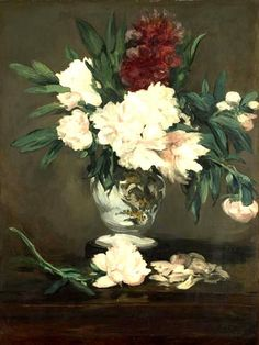 This ready to hang, gallery-wrapped art piece features a vase of peonies. Edouard Manet was a French painter. He was one of the first 19th-century artists to paint modern life, and a picotal figure in