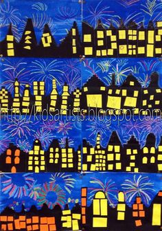 Fireworks! Crayon Resist/watercolor/ collage