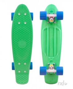 Green penny board and blue wheels