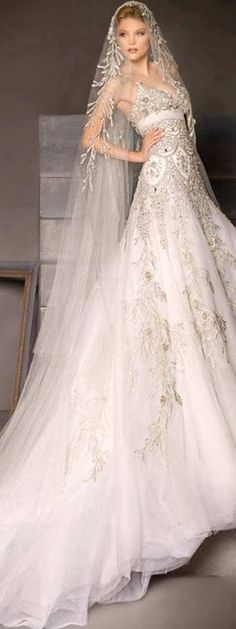 Like how the veil incorporates design from dress--a little less embroidery would have been better.  Like flow of veil around shoulders.