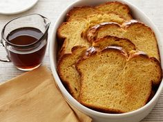 Breakfast Bread Pudding recipe from Ina Garten via Food Network French Toast Bread Pudding, Breakfast Bread Puddings, French Bread French Toast, What's For Breakfast, Best Breakfast Recipes, Breakfast Dishes, Brunch Recipes, Breakfast Options, Brunch Ideas