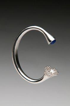 Unique Silver Cuff with Lapis Lazuli, Sterling Silver Bangle - Contemporary Jewelry - Fine Jewelry. $560.00, via Etsy.