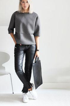 Outfit: scuba and leather (via Bloglovin.com )