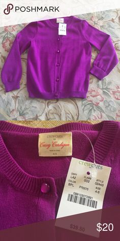J. Crew/Crewcuts Casey Cardigan, Purple, 4/5, NWT The Casey Cardigan in Purple. New with tags. J. Crew Shirts & Tops Sweaters