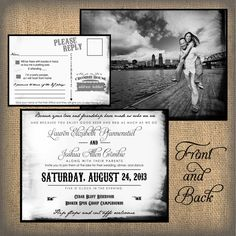 Picture with city landscape behind -- Rustic Wedding Invitation Burlap Wedding Invitation by ohsoplume, $1.00