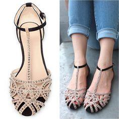 venta caliente de diseño plano sandalias de mujer zapatos de verano sandalia de las mujeres 2014 de diamantes de imitación de la belleza del recorte de las señoras de moda de calzado de envío gratis