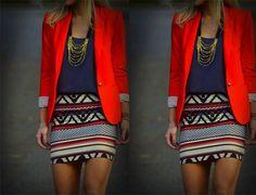 Look com blazer - vermelho veja mais no blog eucapricho