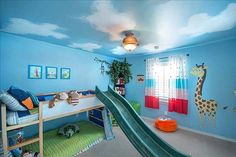 Wow! Such a wonderful #kids #bedroom.So cool. Love the idea of putting a slide. Kids could just slide out of bed every morning.