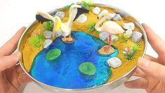 Gold Kinetic Sand Slime Birds Lake Learn Colors Slime Glitter Clay  - Ho...