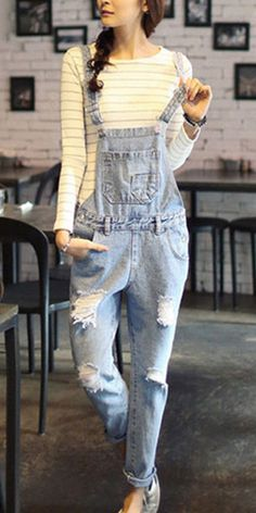 Fashion Distressed Ripped Mid-waist Denim Overalls