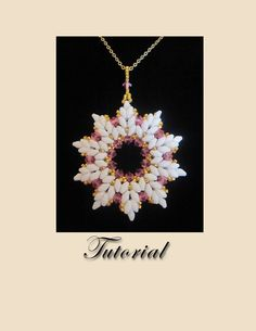 PDF for Pretty in Pink Crystal Snowflake Pendant- beadweaving beaded seed bead jewelry beading pattern tutorial on Etsy, $10.00