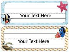 Finding Nemo Themed Desk Tags and Name Plates Cute desk tags add a flair to any classroom! Includes 12 different styles, one set with lines and one without, 24 tags in all.