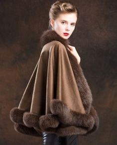 Real Fur Coat & Jacket | Real Fur Coat & Jacket | Fox Trimmed Cashmere Cape | SKU-ffcafo138b | Fur Shop Online Fox Fur Coat, Fur Coats, Cashmere Cape, Fur Trim, My Style, Lady, Classic, Time Capsule, Jackets