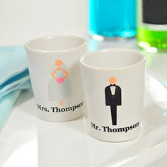 Cathy's Concepts 1173BG Custom Bride & Groom Shot Glasses #wedding
