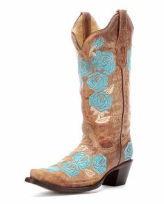 I LOVE THESE!!! Would go perfect for our wedding :) Women's Cognac/Turquoise Roses Embroidery Boot - R1172