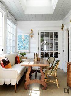 Scandinavian Modern, Banquette Design, Banquette Seating, Beata Heuman, Nantucket Home, Nantucket Island, Home Office, Boho Home, Dining Nook