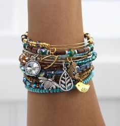 This is just like Alex and Ani's Bangles..I love stuff like this..I want to make…                                                                                                                                                                                 More