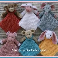 Knitting : Mini Lovey Blankie Menagerie How adorable! I cannot wait to start one of these, wish I found the pattern before I start back at uni!!!