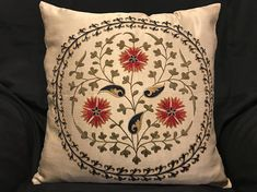 Suzani pillow cover from Uzbekistan. Hand embroidered with natural dyes. Anatolian and Central Asian patterns. Great decorating style, and can also be mixed with contemporary, modern or traditional decor. -Width: 19, Height: 19 (49cmx49cm) -Because of the unique and handmade nature