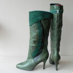 Sacha vintage groene high heels laarzen (1686)