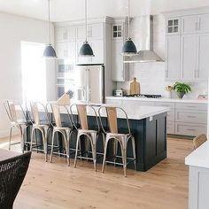 Image result for kitchen white cabinets dark gray island