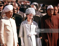 1961, Royal Tour to India, Queen Elizabeth II is pictured with President Prasad (right) at a Palace Garden Party in Delhi  (Photo by Popperfoto/Getty Images)