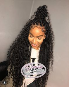 I have some beautiful clients! Shes wearing medium size goddess locs extended length with using synthetic hair. PRICING LOCATED IN BIO! Faux Locs Hairstyles, Black Girl Braids, Braided Hairstyles For Black Women, African Braids Hairstyles, Braids For Black Hair, My Hairstyle, Girls Braids, Protective Hairstyles, Hairstyle Ideas