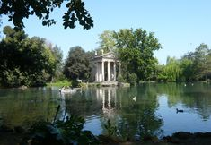 Villa Borghese garden lake where you can row around