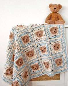 - CROCHET PATTERN: teddy bear crochet baby blanket pattern and step-by-step tutorial, Häkelanleitung, baby afghan, granny square afghan - Baby Afghan Crochet Patterns, Crochet Teddy Bear Pattern, Crochet Bear, Cute Crochet, Baby Blanket Crochet, Vintage Crochet, Baby Patterns, Crochet Patterns For Beginners, Crochet Granny