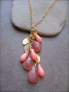 SUMMER SALE Rodochrosite and Coral Gold Necklace by SMVdesigns, $56.00