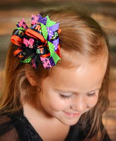 The Black Widow Halloween Hairbow by SweetnessBows on Etsy