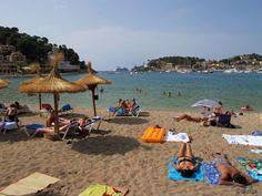 -Seabourn Quest Anchored seen at the Beach, Soller Mallorca, Spain