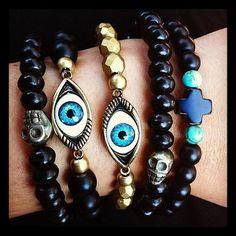 Evil Eye Bracelet  Incan Gold by theblackfeather on Etsy