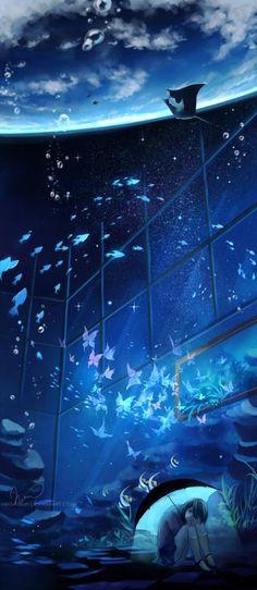 As surreais, fantásticas, oníricas e singelas ilustrações de Niken Anindita Fantasy Landscape, Fantasy Art, Anime Fantasy, Space Fantasy, Wow Art, Anime Artwork, Anime Scenery, Manga Art, Manga Anime