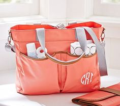 2nd choice Hannah Diaper Bag - fabric is easy to clean Melon Madison Tote #pbkids