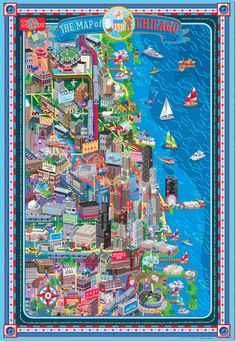 This highly detailed illustrated map of Chicago is laminated for clean, long-lasting display in the classroom or at home. Included are 50 stickers to encourage geographic awareness, problem solving, interaction and creative storytelling.