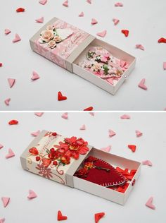 3D Valentine of sorts. Scrap booked matchboxes with fabric hearts and other embellishments. Sweet.