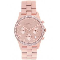 Marc by Marc Jacobs Watches Women's Marc Jacobs Rose Gold Henry Crystal Watch MBM3118 (€325) found on Polyvore