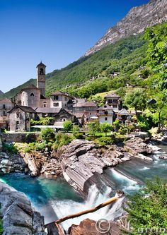 At Lavertezzo, Ticino, Switzerland. Places Around The World, Oh The Places You'll Go, Travel Around The World, Places To Travel, Places To Visit, Around The Worlds, Vacation Destinations, Vacation Spots, Wonderful Places