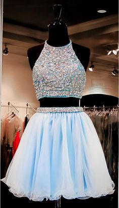 Two Pieces Homecoming Dress High Halter Neckline Short Prom Dress pst0792 on Storenvy