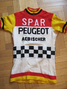 PEUGEOT SPAR AEBISCHER Vintage TEAM 1976-81 Cycling Jersey Size SMALL  2039ede25fce