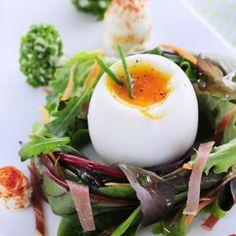 Entrée de Pâques : nid de jeunes #pousses et son #œuf mollet... Miam.. Cet œuf nous fait fondre ! #surprenezVous