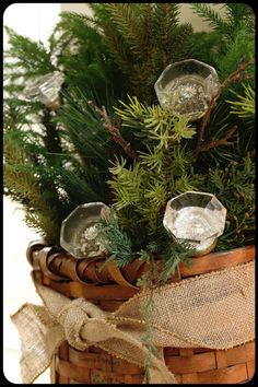 cabinet knobs attached to dowels and inserted in greenery for the holidays.. what a cute idea..  more cute ideas here..  http://theoldpaintedcottage.com/pages/cotm-dec-2012.htm