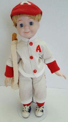 """Vintage 1980s Porcelain Baseball Boy Doll with bat bag glove 14"""""""